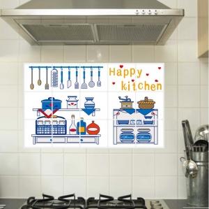 """สติ๊กเกอร์ติดครัว กันน้ำมันกระเด็น อลูมิเนียม """"Happy Kitchen"""" ขนาด 45cm x 75cm"""