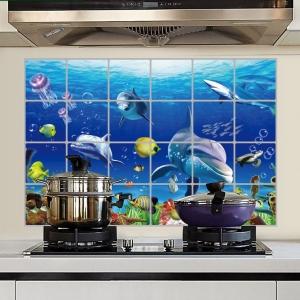"""สติ๊กเกอร์ติดครัวกันน้ำมันกระเด็น """"Under the Sea 2"""" ขนาด 60 cm x 90 cm"""