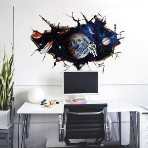 """สติ๊กเกอร์ติดผนัง ตกแต่งบ้าน Wall Sticker 3D """"อวกาศ 1"""" ความสูง 60 cm กว้าง 90 cm"""
