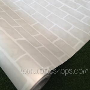"Wallpaper Sticker วอลล์เปเปอร์แบบมีกาวในตัว ""ลายอิฐมอญสีเทาอ่อนยาแนวสีขาว"" หน้ากว้าง 1.22m ตัดขายตามความยาว เมตรละ 250 บาท"
