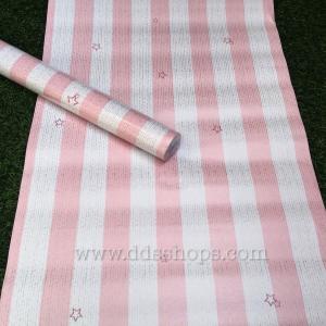"""Wallpaper Sticker วอลล์เปเปอร์แบบมีกาวในตัว """"ลายทางสีชมพูขาว"""" กว้าง 45cm x 10m"""