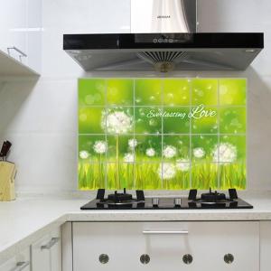 """สติ๊กเกอร์ติดครัวกันน้ำมันกระเด็น """"Green Dandelion"""" ขนาด 60 cm x 90 cm"""
