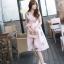 เดรสแฟชั่นเกาหลี สีชมพูแขนกุด ผูกโบว์เอว หวานๆ thumbnail 1