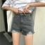 กางเกงยีนส์ขาสั้น เอวสูงสีเทารมควัน thumbnail 1