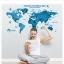 """สติ๊กเกอร์ติดผนังตกแต่งห้อง """"แผนที่โลก Around the World สีฟ้า"""" ความสูง 55 cm กว้าง 100 cm thumbnail 1"""