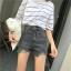 กางเกงยีนส์ขาสั้น เอวสูงสีเทารมควัน thumbnail 4