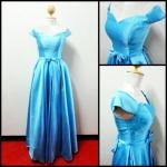 ชุดราตรีสีฟ้ายาว งานผ้าไหมสไตล์เจ้าหญิง