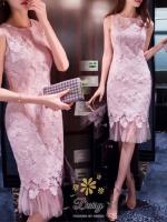 พร้อมส่ง เดรสผ้าลูกไม้เนื้อดี ทอสวยแน่น ลูกไม้ลายสวย เป็นลายดอกไม้หนาสวย ปลายเป็นซีทรูสีชมพูอ่อน เหมาะใส่ออกงาน แบบแขนกุด สวยหรู ใครใส่ก็สวยแพทเทิ้ลดีมาก