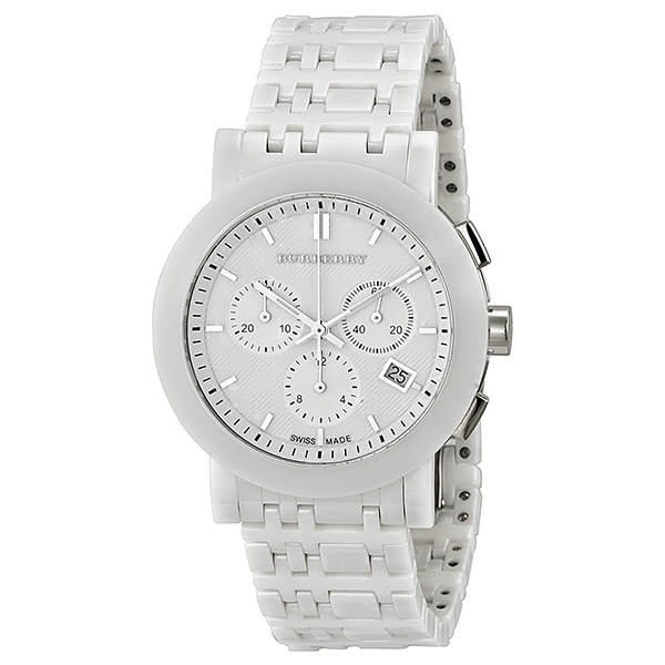 182bf2058dd Burberry 40mm Women s BU1770 Ceramic White Chronograph Dial Watch ...