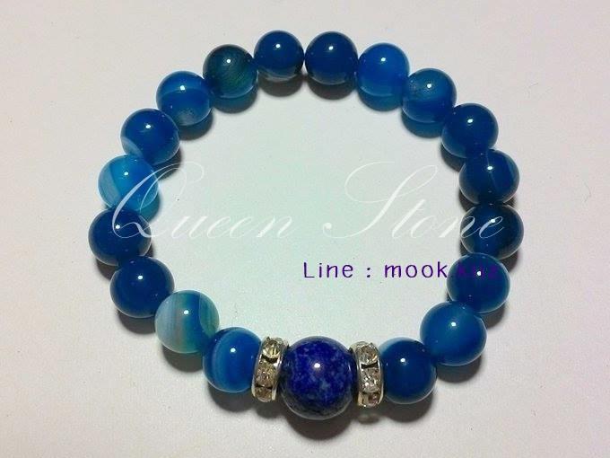 อาเกตสีฟ้า + ลาพิซ ลาซูรี่ 8 มิล