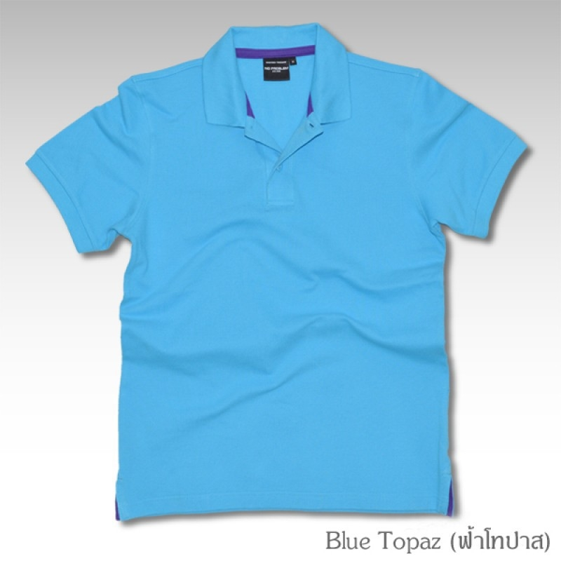 Basic Polo สีฟ้าโทปาส M-2XL ผ้าจุติ