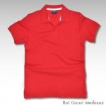 Basic Polo สีแดงโกเมน M-2XL ผ้าจุติ