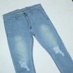 """40-50"""" กางเกงยีนส์ทรงเดฟ ซิบผ้ายืด สีซีด"""